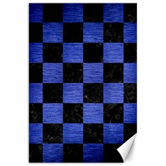 Square1 Black Marble & Blue Brushed Metal Canvas 20  X 30  by trendistuff