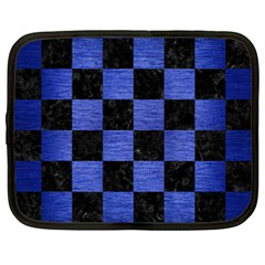 Square1 Black Marble & Blue Brushed Metal Netbook Case (xxl) by trendistuff