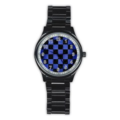Square1 Black Marble & Blue Brushed Metal Stainless Steel Round Watch by trendistuff