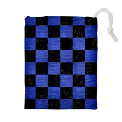 Square1 Black Marble & Blue Brushed Metal Drawstring Pouch (xl) by trendistuff
