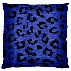 Skin5 Black Marble & Blue Brushed Metal Large Cushion Case (one Side) by trendistuff