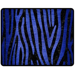 Skin4 Black Marble & Blue Brushed Metal (r) Double Sided Fleece Blanket (medium) by trendistuff