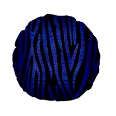 Skin4 Black Marble & Blue Brushed Metal (r) Standard 15  Premium Flano Round Cushion  by trendistuff