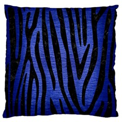 Skin4 Black Marble & Blue Brushed Metal Large Flano Cushion Case (one Side) by trendistuff