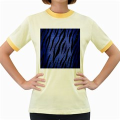 Skin3 Black Marble & Blue Brushed Metal (r) Women s Fitted Ringer T Shirt