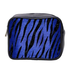 Skin3 Black Marble & Blue Brushed Metal (r) Mini Toiletries Bag (two Sides) by trendistuff