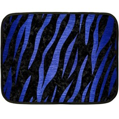 Skin3 Black Marble & Blue Brushed Metal Double Sided Fleece Blanket (mini) by trendistuff