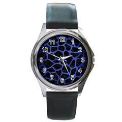 Skin1 Black Marble & Blue Brushed Metal (r) Round Metal Watch by trendistuff