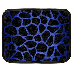 Skin1 Black Marble & Blue Brushed Metal (r) Netbook Case (large) by trendistuff