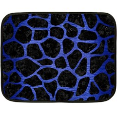 Skin1 Black Marble & Blue Brushed Metal (r) Fleece Blanket (mini) by trendistuff