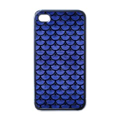Scales3 Black Marble & Blue Brushed Metal (r) Apple Iphone 4 Case (black) by trendistuff