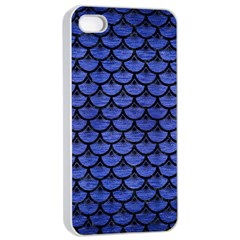 Scales3 Black Marble & Blue Brushed Metal (r) Apple Iphone 4/4s Seamless Case (white) by trendistuff