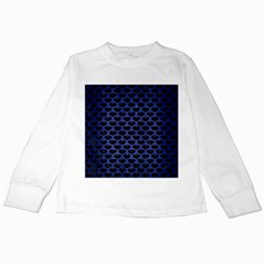 Scales3 Black Marble & Blue Brushed Metal Kids Long Sleeve T Shirt