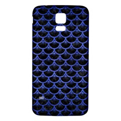 Scales3 Black Marble & Blue Brushed Metal Samsung Galaxy S5 Back Case (white) by trendistuff