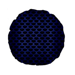 Scales3 Black Marble & Blue Brushed Metal Standard 15  Premium Flano Round Cushion  by trendistuff