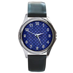 Scales2 Black Marble & Blue Brushed Metal (r) Round Metal Watch by trendistuff