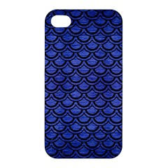 Scales2 Black Marble & Blue Brushed Metal (r) Apple Iphone 4/4s Premium Hardshell Case by trendistuff