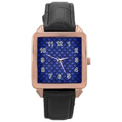 Scales2 Black Marble & Blue Brushed Metal (r) Rose Gold Leather Watch  by trendistuff