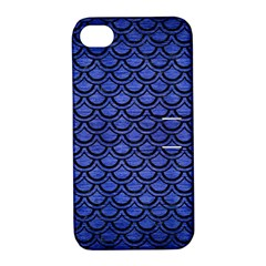 Scales2 Black Marble & Blue Brushed Metal (r) Apple Iphone 4/4s Hardshell Case With Stand by trendistuff