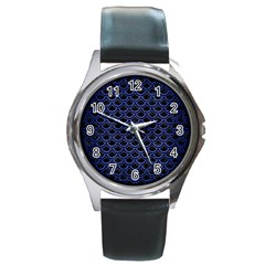 Scales2 Black Marble & Blue Brushed Metal Round Metal Watch by trendistuff