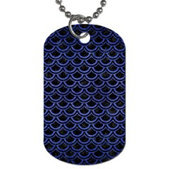 Scales2 Black Marble & Blue Brushed Metal Dog Tag (one Side) by trendistuff