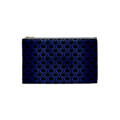Scales2 Black Marble & Blue Brushed Metal Cosmetic Bag (small) by trendistuff