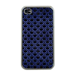 Scales2 Black Marble & Blue Brushed Metal Apple Iphone 4 Case (clear) by trendistuff