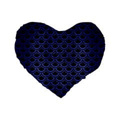 Scales2 Black Marble & Blue Brushed Metal Standard 16  Premium Flano Heart Shape Cushion  by trendistuff