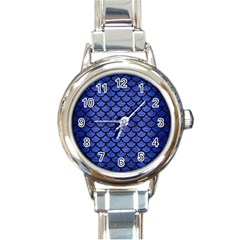 Scales1 Black Marble & Blue Brushed Metal (r) Round Italian Charm Watch by trendistuff