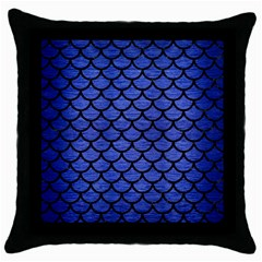 Scales1 Black Marble & Blue Brushed Metal (r) Throw Pillow Case (black) by trendistuff