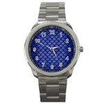 SCALES1 BLACK MARBLE & BLUE BRUSHED METAL (R) Sport Metal Watch Front