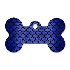 Scales1 Black Marble & Blue Brushed Metal (r) Dog Tag Bone (two Sides)