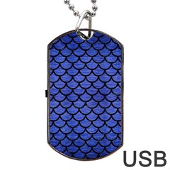 Scales1 Black Marble & Blue Brushed Metal (r) Dog Tag Usb Flash (two Sides) by trendistuff