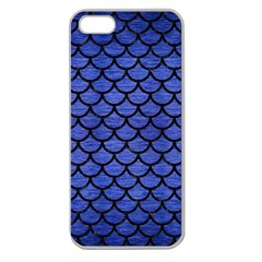Scales1 Black Marble & Blue Brushed Metal (r) Apple Seamless Iphone 5 Case (clear) by trendistuff