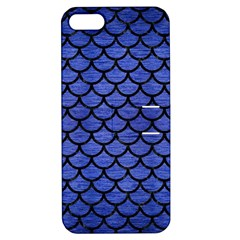 Scales1 Black Marble & Blue Brushed Metal (r) Apple Iphone 5 Hardshell Case With Stand by trendistuff
