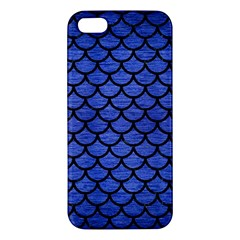Scales1 Black Marble & Blue Brushed Metal (r) Apple Iphone 5 Premium Hardshell Case by trendistuff