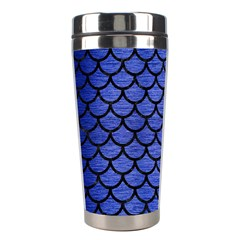 Scales1 Black Marble & Blue Brushed Metal (r) Stainless Steel Travel Tumbler by trendistuff