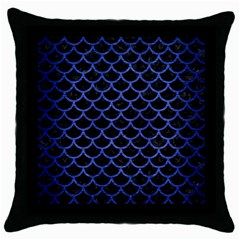 Scales1 Black Marble & Blue Brushed Metal Throw Pillow Case (black) by trendistuff