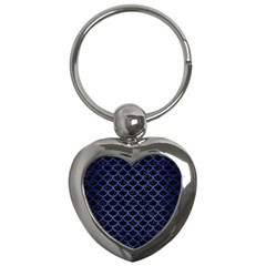 Scales1 Black Marble & Blue Brushed Metal Key Chain (heart) by trendistuff