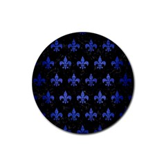 Royal1 Black Marble & Blue Brushed Metal (r) Rubber Coaster (round) by trendistuff