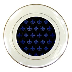 Royal1 Black Marble & Blue Brushed Metal (r) Porcelain Plate by trendistuff