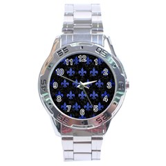 Royal1 Black Marble & Blue Brushed Metal (r) Stainless Steel Analogue Watch by trendistuff