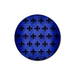 Royal1 Black Marble & Blue Brushed Metal Rubber Coaster (round) by trendistuff