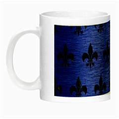 Royal1 Black Marble & Blue Brushed Metal Night Luminous Mug by trendistuff