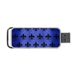 Royal1 Black Marble & Blue Brushed Metal Portable Usb Flash (two Sides) by trendistuff