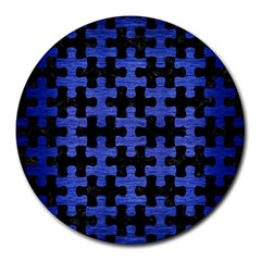 Puzzle1 Black Marble & Blue Brushed Metal Round Mousepad by trendistuff