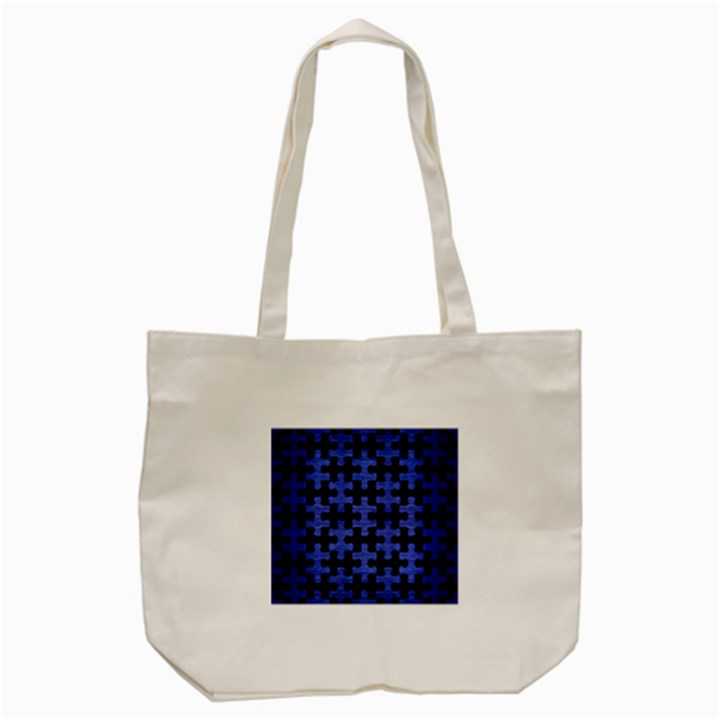 PUZZLE1 BLACK MARBLE & BLUE BRUSHED METAL Tote Bag (Cream)