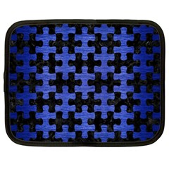 Puzzle1 Black Marble & Blue Brushed Metal Netbook Case (xl) by trendistuff