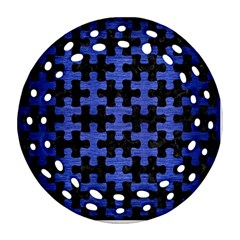 Puzzle1 Black Marble & Blue Brushed Metal Round Filigree Ornament (two Sides) by trendistuff