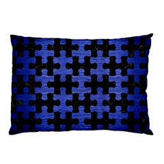 Puzzle1 Black Marble & Blue Brushed Metal Pillow Case (two Sides) by trendistuff